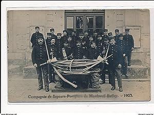 Carte postale ancienne MONTREUIL-BELLAY : compagnie de sapeurs-pompiers 1923