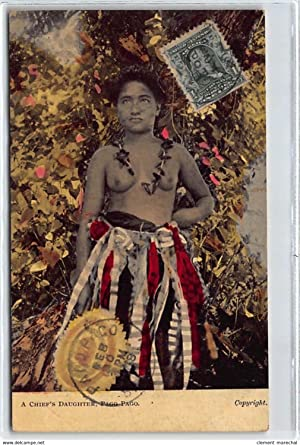 Carte postale ancienne SAMOA : a chief's daughter pago pago, femme nue