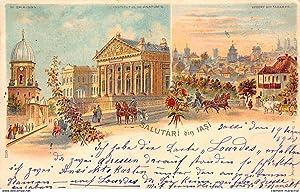 Carte postale ancienne ROUMANIE : salutari din iasi