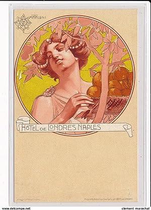 Carte postale ancienne PUBLICITE : hotel de londres naples, Mataloni