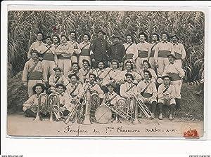 Carte postale ancienne ANTIBES : chasseurs alpins, fanfare du 7eme chasseur