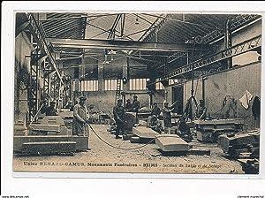 Carte postale ancienne REIMS : usine renard-camus, monuments funéraires section de taille et de ...