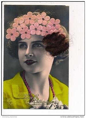 Carte postale ancienne FANTAISIE - Carte décorée de vrais cheveux - Real hair decorated postcard