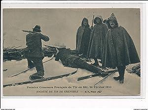 Carte postale ancienne GRENOBLE - Premier Concours Français de Tir en ski, 20 Février 1910 - ...