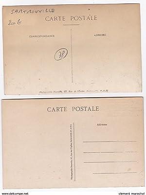 Carte postale ancienne SARTROUVILLE : au bel-air café, vin, billard, maison georges pion, plat du ...