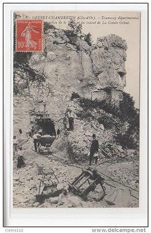 Carte postale ancienne GEVREY CHAMBERTIN : construction de la ligne de tramway de la Combe Grisat