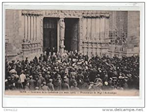 Carte postale ancienne SENS - Inventaire de la cathédrale - protestation de Mgr l'Archevêque