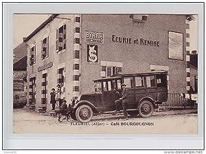 Carte postale ancienne FLEURIEL : l'autobus devant le café Bourguignon