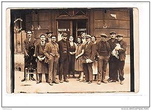 Carte postale ancienne PARIS : carte photo du café Jeanroy au 205 rue de Championnet vers 1910