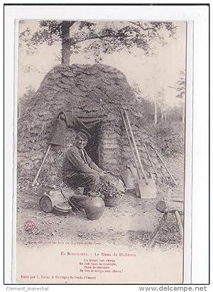 Carte postale ancienne BOURGOGNE : le menu du bucheron