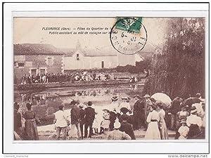 Carte postale ancienne FLEURANCE : fetes du quartier de lac publique assistant au mat de cocagne ...