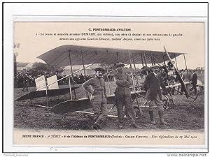 Carte postale ancienne DEMAZEL : le jeune et aimable aviateur DEMAZEL (au milieu) son pere (a ...