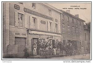 Carte postale ancienne CHASSELAY : attelage devant l'hôtel Borie - Villard vers 1910