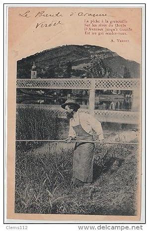 Carte postale ancienne La pêche à la grenouille sur les rives du Doubs