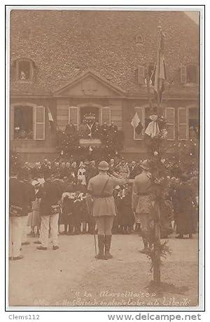 """Carte postale ancienne NEUF BRISACH : le 4 Mai 1919 - """"on plante l'arbre de la Liberté"""""""