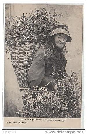 Carte postale ancienne AU PAYS CREUSOIS : la marchande de gui