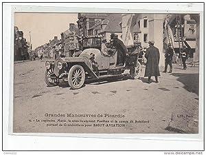 Carte postale ancienne BRIOT - AVIATION - Grandes Manoeuvres de Picardie - Groupe d'officiers ...
