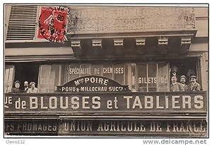 Carte postale ancienne PARIS : carte photo du magasin POHU et MILLOCHAU - 32 rue des Halles 1er arr.