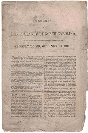 [SLAVERY AND ANTI-SLAVERY] [CIVIL WAR] Remarks of Hon. E. Stanly, of North Carolina, in the House...