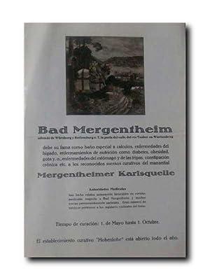 BAD MERGENTHEIM Aademas De Wurzburg y Rotenburg: Aguas Medicinales.