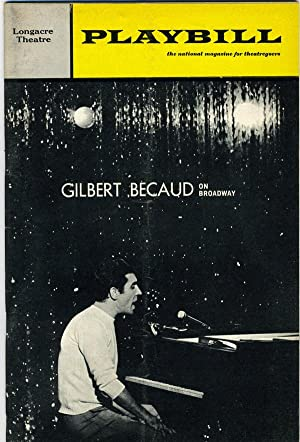 GILBERT BECAUD ON BROADWAY Playbill: The Longacre Theatre: Volume 3, October 1966, Number 10.: ...