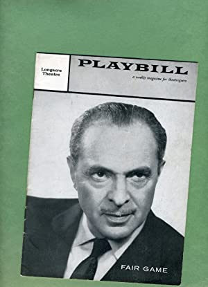 Fair Game Playbill: Week of March 31, 1958: Volume 2, Number 13: Sam Levene, Ellen McRae, Robert ...