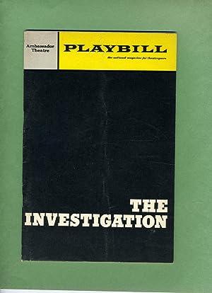 THE INVESTIGATION Playbill: PREMIERE PERFORMANCE: October 4, 1966: Peter Weiss, Jon Swan, Ulu ...