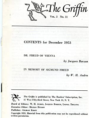 The Griffin Volume (Vol) 2, No. 11, December 1953: Dr. Freud of Vienna (Barzun) & In Memory of ...