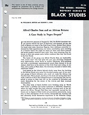 Alfred Charles Sam and an African Return: William E. Bittle