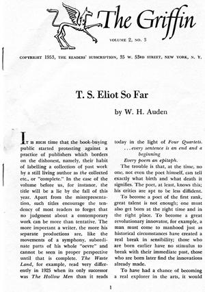 T. S. Eliot So Far, from The Griffin Volume (Vol) 2, No. 3.: W. H. Auden & George Williamson, from ...