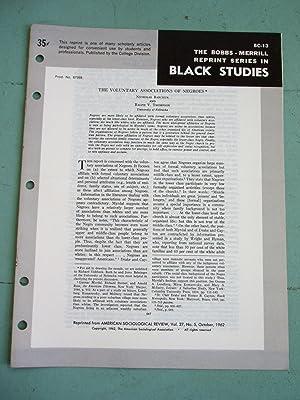 THE VOLUNTARY ASSOCIATIONS OF NEGROES (Bobbs-Merrill Reprint Series in Black Studies: BC-13): ...