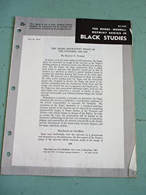 THE NEGRO DRAMATIST'S IMAGE OF THE UNIVERSE 1920-1960 (Bobbs-Merrill Reprint Series in Black ...
