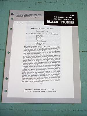 LANGSTON HUGHES: COOL POET (Bobbs-Merrill Reprint Series in Black Studies: BC-63): Arthur P. Davis