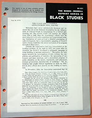 THE NAACP AND A FEDERAL ANTILYNCHING BILL, 1934-1940 (Bobbs-Merrill Reprint Series in Black Studies...