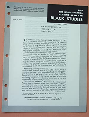 THE URBANIZATION OF NEGROES IN THE UNITED STATES (Bobbs-Merrill Reprint Series in Black Studies: BC...