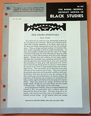 THE NEGRO SPIRITUALS (Bobbs-Merrill Reprint Series in: Alain Locke, ed