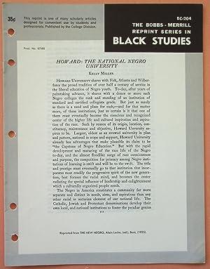 HOWARD: THE NATIONAL NEGRO UNIVERSITY (Bobbs-Merrill Reprint: Kelly Miller (Alain
