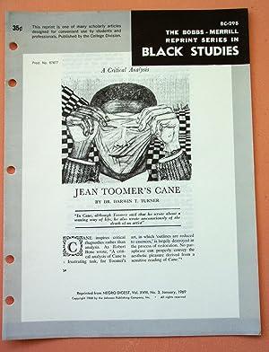 JEAN TOOMER'S CANE (Bobbs-Merrill Reprint Series in Black Studies: BC-298): Darwin T. Turner