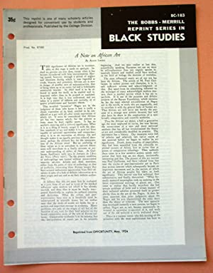 A NOTE ON AFRICAN ART (Bobbs-Merrill Reprint Series in Black Studies: BC-183): Alain Locke