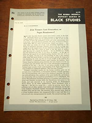 JEAN TOOMER: LOST GENERATION, OR NEGRO RENAISSANCE? (Bobbs-Merrill Reprint Series in Black Studies:...