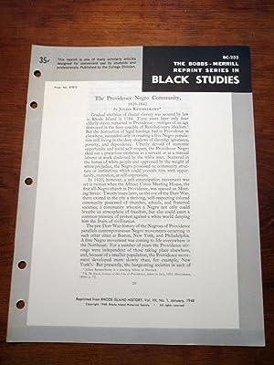 THE PROVIDENCE NEGRO COMMUNITY (Bobbs-Merrill Reprint Series in Black Studies: BC-235): Julian ...