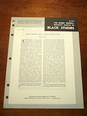 NEGRO IMMIGRATION TO THE UNITED STATES (Bobbs-Merrill Reprint Series in Black Studies: BC-240): Ira...
