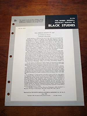 THE LIBERIAN EXODUS OF 1878 (Bobbs-Merrill Reprint Series in Black Studies: BC-294): George B. ...