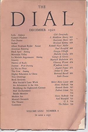 THE DIAL Volume LXXI, Number 6, December 1921: Thayer, Scofield, ed.