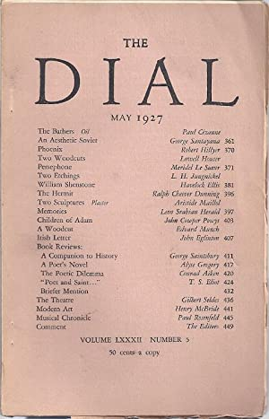 THE DIAL. Volume LXXXII, Number 5. May 1927: Moore, Marianne, ed.