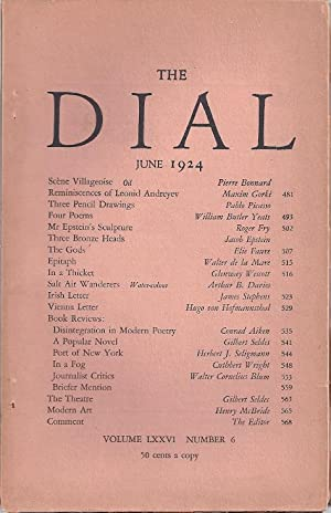 THE DIAL. Volume LXXVI, Number 6. June 1924: Thayer, Scofield, ed.