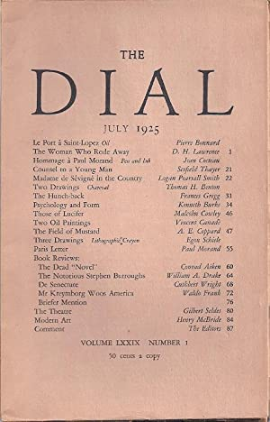 THE DIAL Volume LXXIX, Number 1. July 1925: Thayer, Scofield, ed.