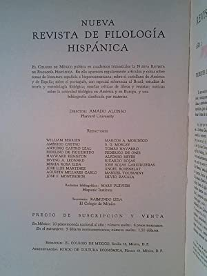 Nueva Revista de filología Hispánica. Número 1 y 2.