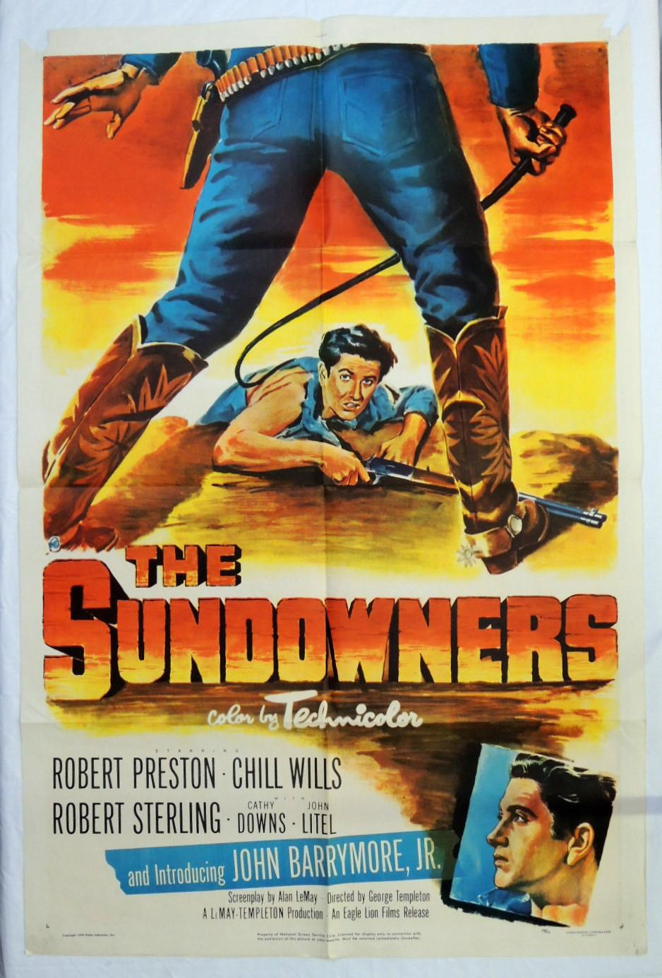 Original The Sundowners 1952 Western Movie Poster John Drew