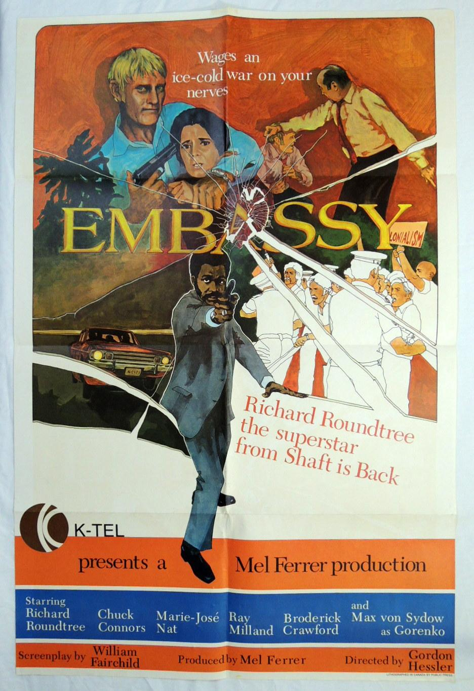 Original 'Embassy' 1973 Richard Roundtree, Chuck Connors, Ray Milland Movie Poster: ...